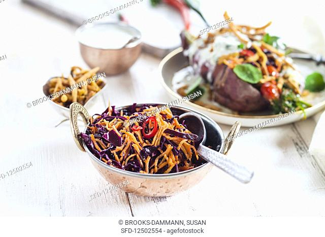 Spicy gujarati potato and red cabbage salad with chillis