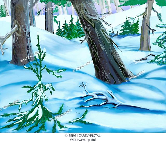Snowdrifts in a Winter Forest. Handmade illustration in a classic cartoon style