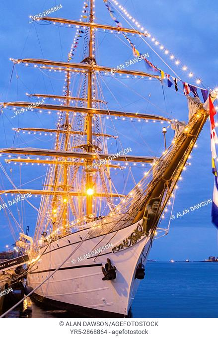 Tall ship, NRP Sagres in Las Palmas port on Gran Canaria during the Rendez-Vous 2017 Tall Ships Regatta. Tall ship NRP Sagres is a training ship of the...