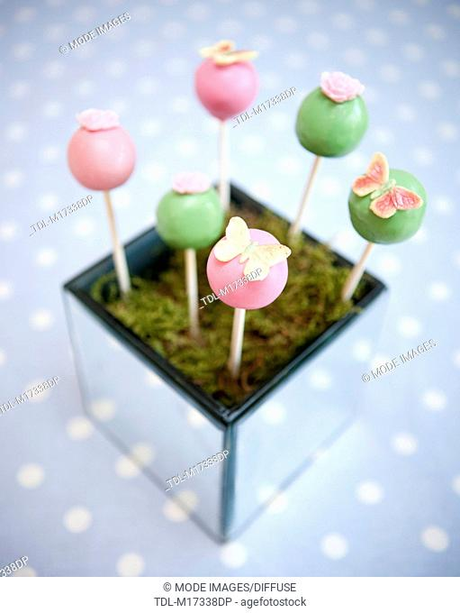Decorated pink and green lollipop cake sweets