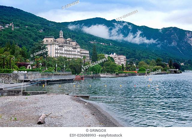 beautiful view of Stresa beach on a cloudy day