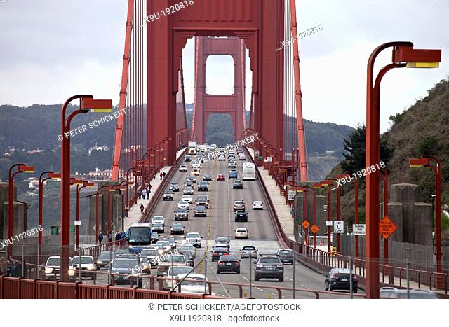 traffic on Golden Gate bridge in San Francisco, California, United States of America, USA