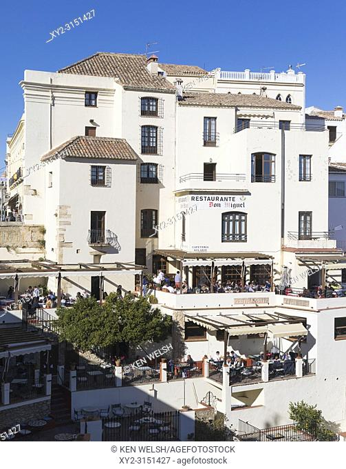 Ronda, Malaga Province, Andalusia, southern Spain. Don Miguel restaurant overlooking the Tajo gorge