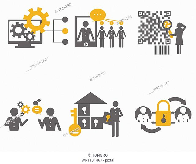 an illustration of icons related to business