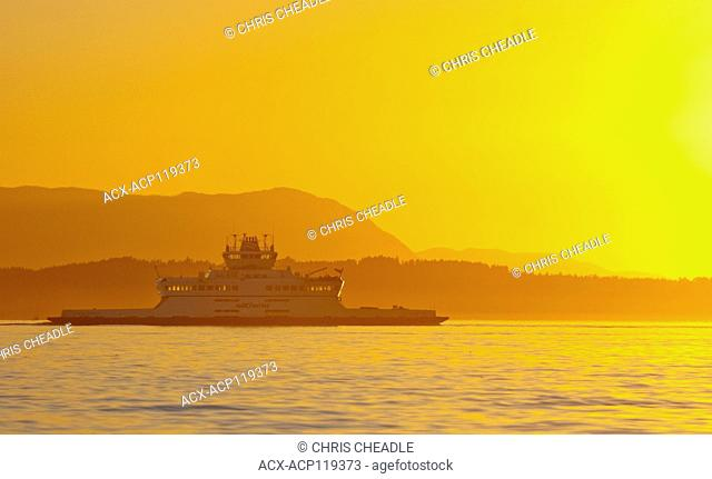 BC Ferry, Queen of Cumberland, sunset, Sidney, British Columbia, Canada