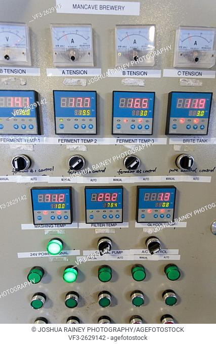 EUGENE, OR - NOVEMBER 4, 2015: Electrical control panel for temperature control of fermenters and mashing machines at the startup craft brewery Mancave Brewing