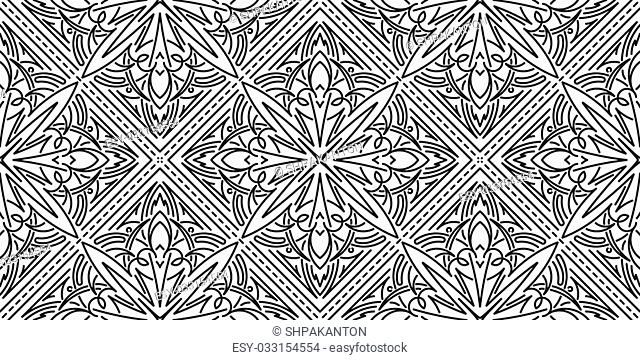 Seamless Abstract Tribal Black-White Pattern. Hand Drawn Ethnic Texture. Vector Illustration