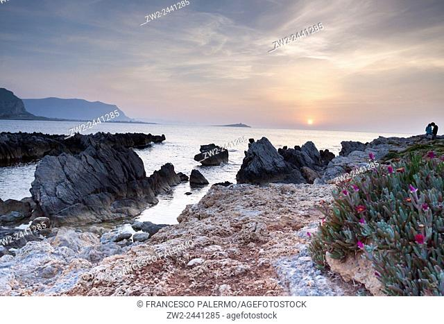 Coastline in the spring afternoon. Sferracavallo, Sicily. Italy