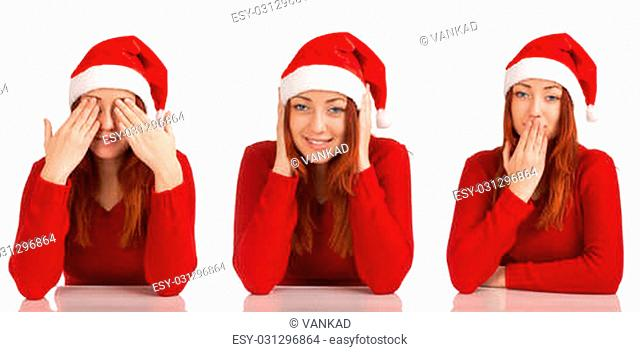 Woman in santa hat. See No Evil, Hear No Evil, Speak No Evil poses