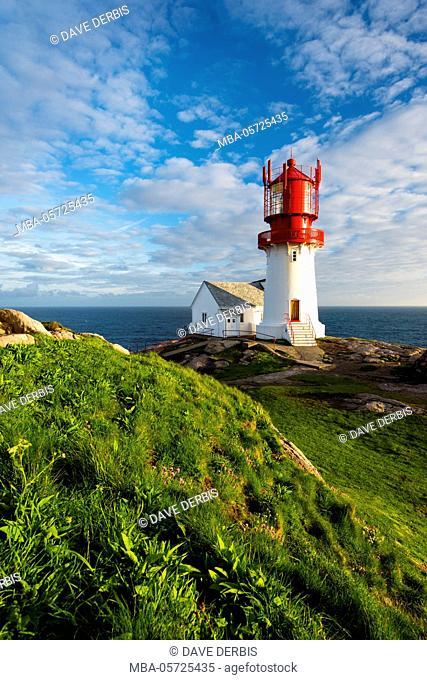 Sundown, lighthouse, Lindesnes, Vest-Agder, Norway, Europe