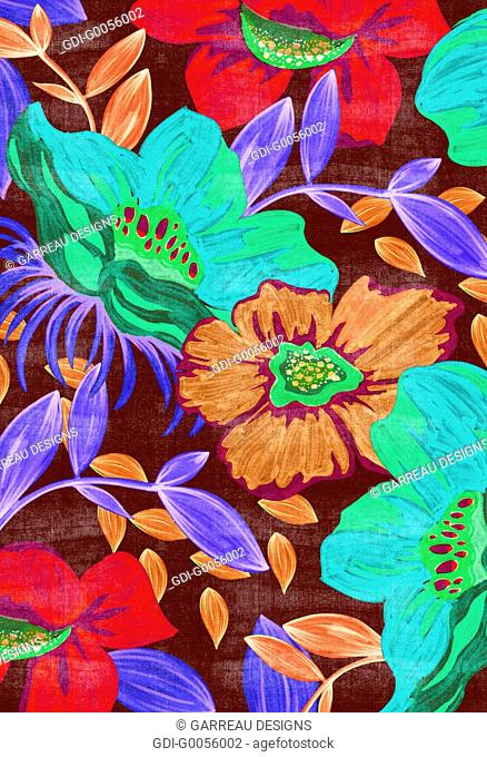 Marker drawing of tropical flowers