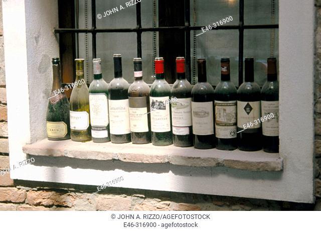 Giusti restaurant. Wine bottles. Modena. Italy