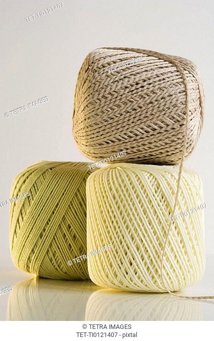 Studio shot of balls of yarn
