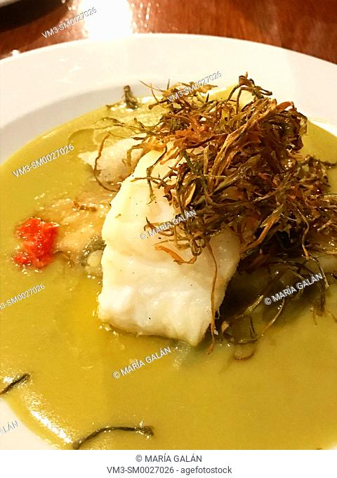 Codfish loin with vegetables sauce