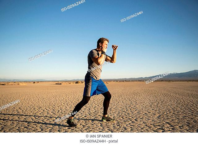 Man kickbox training on dry lake bed, El Mirage, California, USA