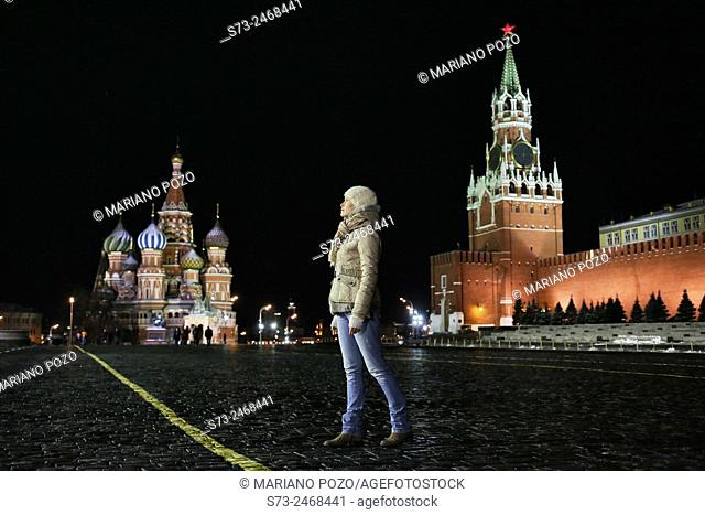 Woman posing in Red Square, Moscow, Russia