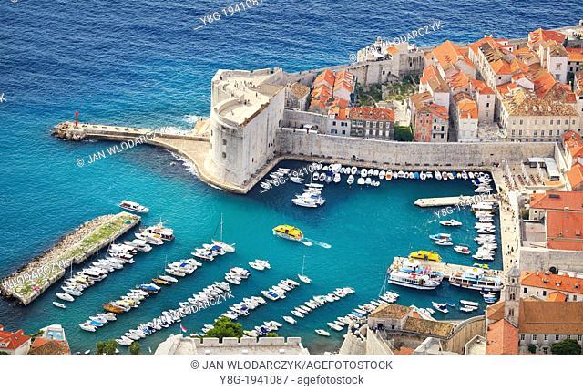 Croatia - Dubrovnik, Old Town, aerial view from Mount Srd hill, Dalmatia, Croatia
