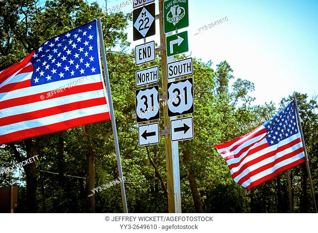 American flags decorating outside of the Native American Little River Casino on Labor Day in Manistee, Michigan, USA