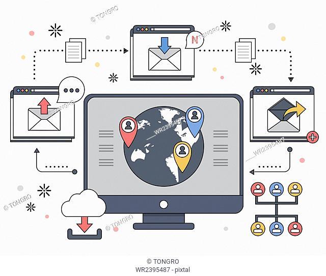 Online communication in illustration