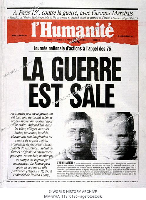 la guerre est sale (the dirty war), anti-war headline in 'l'Humanite' a French newspaper, 2nnd January 1991, concerning captured US pilots during the Gulf War...