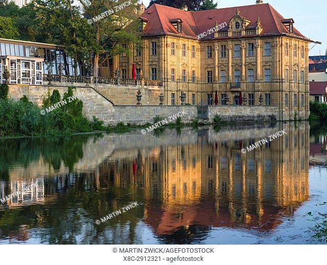 "The Old Town and river Regnitz. Villa Concordia. Bamberg in Franconia, a part of Bavaria. The Old Town is listed as UNESCO World Heritage """"Altstadt von..."