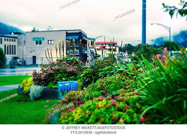 Street corner garden street scene in Sitka, Alaska, USA