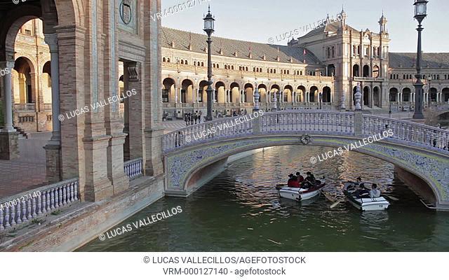 Boats in Plaza de España,Maria Luisa Park, Sevilla,Andalucía, Spain