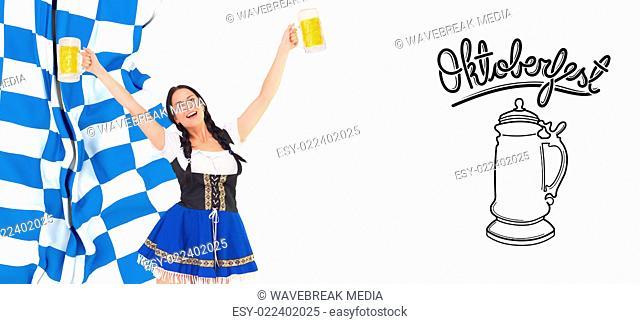 Composite image of pretty oktoberfest girl holding beer tankards