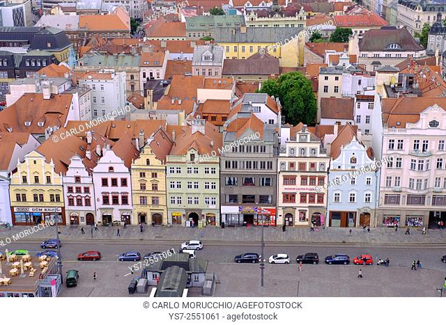 Republic Square seen from the tower of St. Bartholomew's Cathedral, Pilsen, Czech Republic