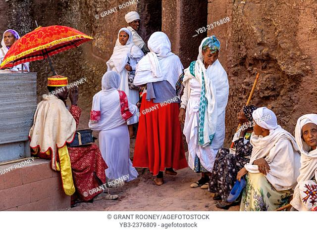 Christian Pilgrims At Bete Maryam Church At Christmas Time, Lalibela, Ethiopia