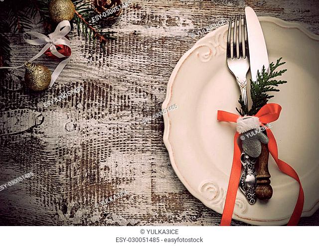 Christmas table place setting. Selective focus