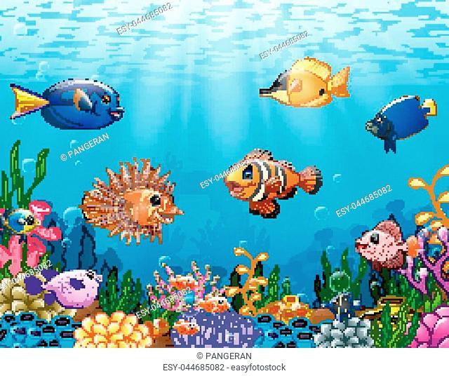 Vector illustration of Cartoon fish under the sea