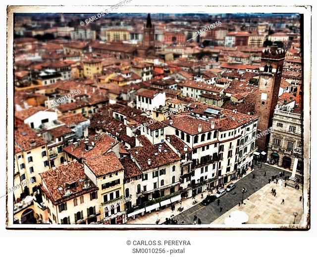 Verona cityscape, top view. Veneto, Italy