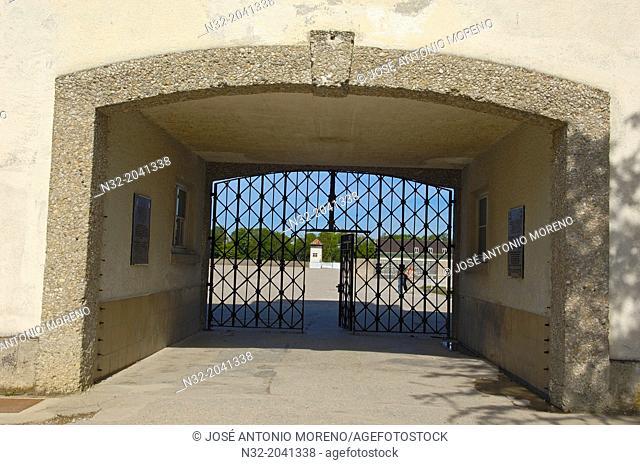Dachau, Near Munich, Concentration Camp, Memorial Site, Main gate, Bavaria, Germany, Europe