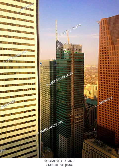 A view of the 'Trump' hotel during construction amongst other finicial district highrises. Downtown Toronto, Ontario, Canada