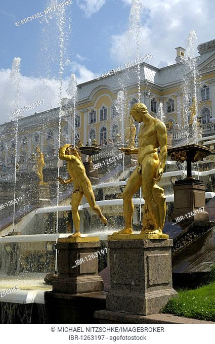 Gilded statues, Grand Cascade, Palace, Peterhof, Saint Petersburg, Russia, Europe