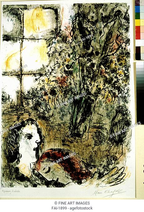 A summer evening. Chagall, Marc (1887-1985). Colour lithograph. Modern. c. 1960. State A. Pushkin Museum of Fine Arts, Moscow. 75,7x52,7. Graphic arts