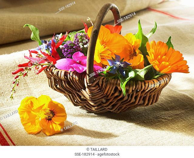 Basket of edible flowers