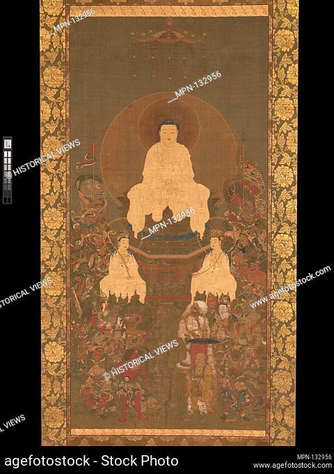 "釈迦三尊oå…å-""神像. Artist: Unidentified Artist Japanese; Period: Nanbokucho period (1336-92); Date: late 14th century; Culture: Japan; Medium: Hanging..."