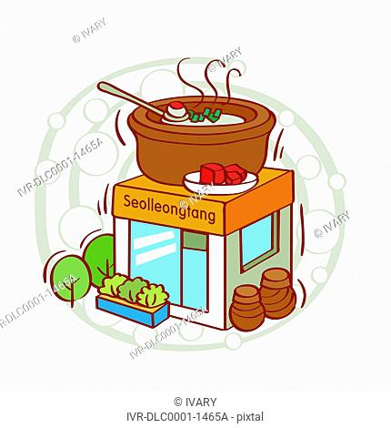 Illustration of Korean soup on a building