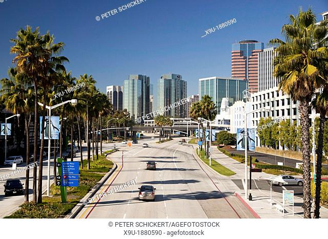 traffic on Shoreline Drive and the skyline in Long Beach, Los Angeles County, California, United States of America, USA