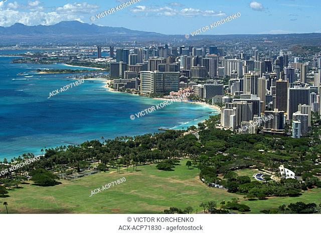 View of Waikiki tourist area of Honolulu from Diamond Head mountain
