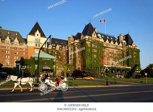 Hotel Empress, carriage, Victoria, Vancouver Island , Canada, North America