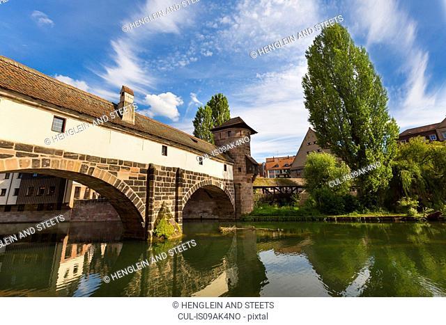Henkersteg bridge and Pegnitz river, Nuremberg, Bavaria, Germany