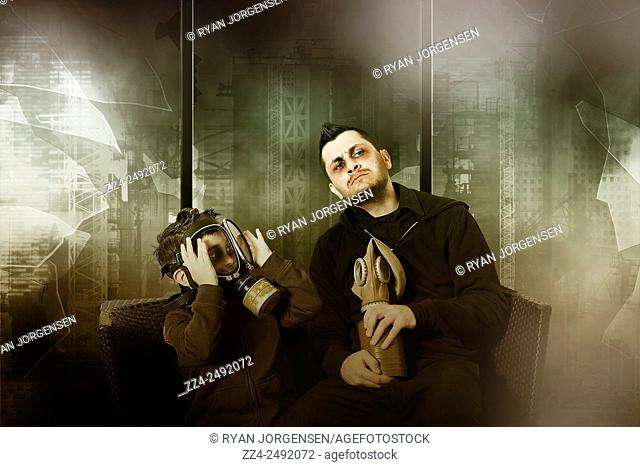 Father and son inside building space with blown out windows wearing gas masks during nuclear apocalypse