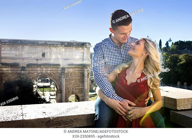 Couple at the Roman Forum in Rome, Italy