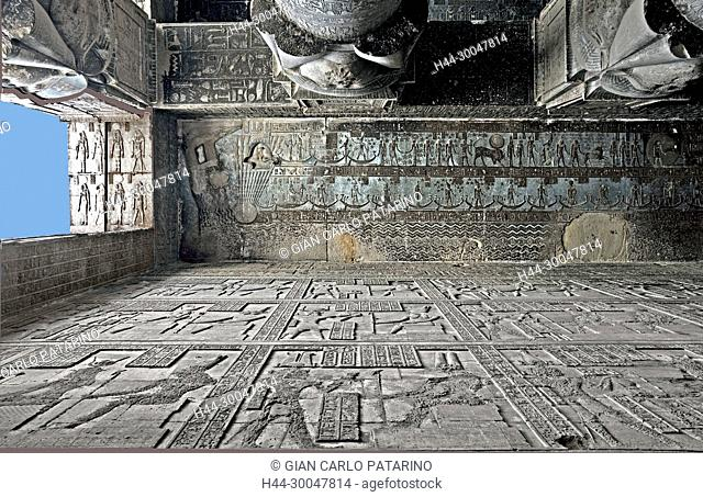 Dendera Egypt, temple dedicated to the goddess Hathor. View of ceiling and columns before cleaning