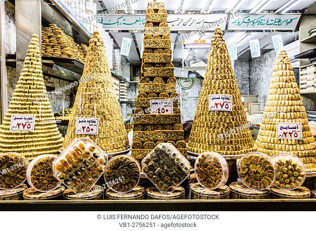 Baklava and other Syrian pastries on a window shop of Damascus, Syria