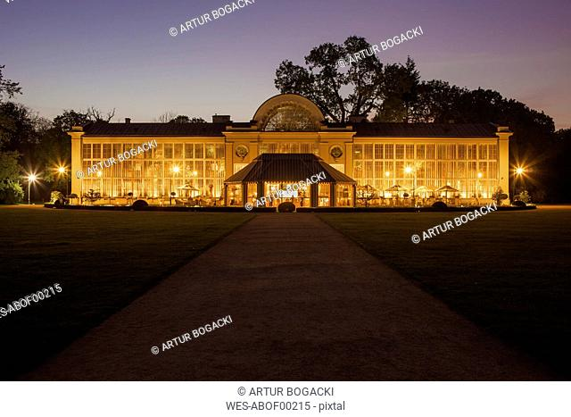 Poland, Warsaw, Royal Lazienki Park, New Orangery illuminated at night