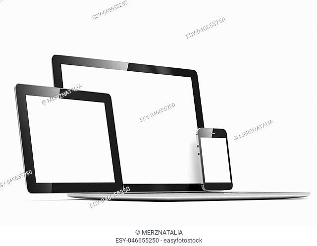 laptop, tablet, phone, on white. 3d rendering